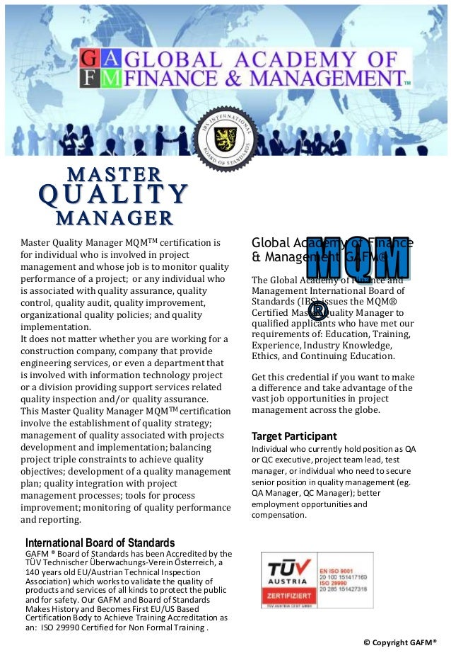 Certified Master Quality Manager Mqm