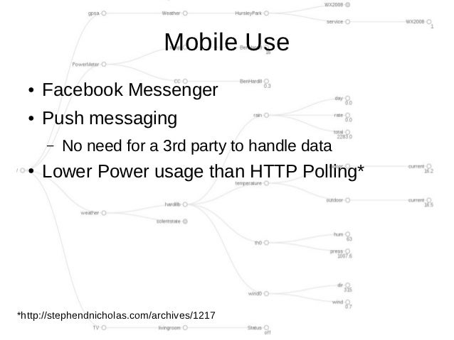 Mobile Use  ●   Facebook Messenger  ●   Push messaging      –   No need for a 3rd party to handle data  ●   Lower Power us...