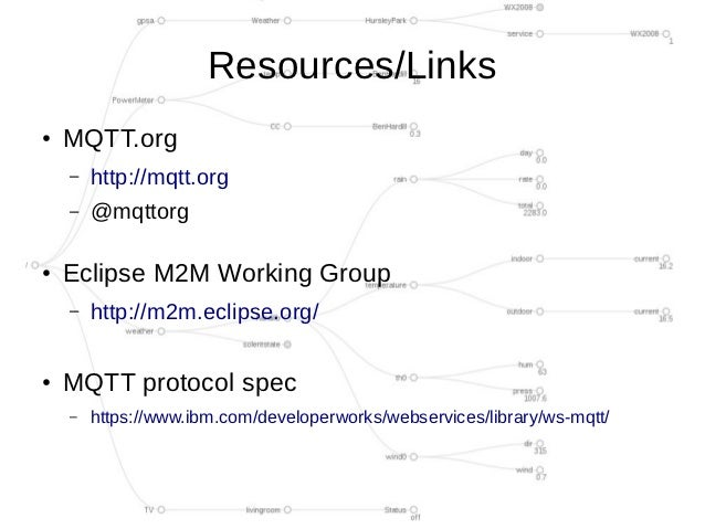 Resources/Links●   MQTT.org    –   http://mqtt.org    –   @mqttorg●   Eclipse M2M Working Group    –   http://m2m.eclipse....