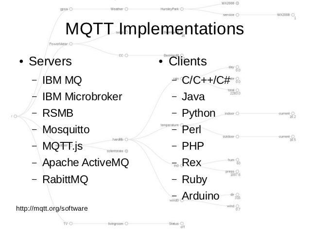 MQTT Implementations●   Servers                ●   Clients     –   IBM MQ                –   C/C++/C#     –   IBM Microbro...