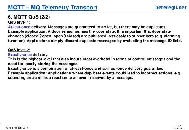 © Peter R. Egli 2017 24/33 Rev. 2.10 MQTT – MQ Telemetry Transport peteregli.net 6. MQTT QoS (2/2) QoS level 1: At-lest-on...