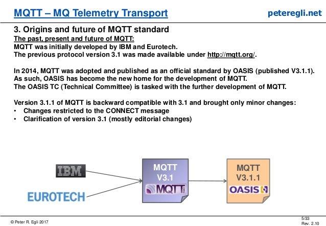 © Peter R. Egli 2017 5/33 Rev. 2.10 MQTT – MQ Telemetry Transport peteregli.net 3. Origins and future of MQTT standard The...