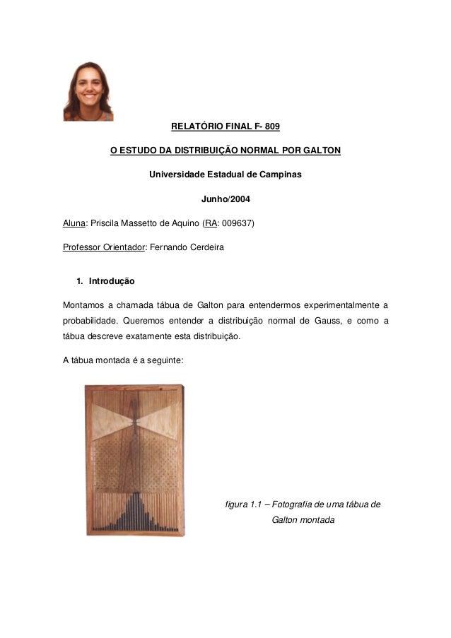RELATÓRIO FINAL F- 809 O ESTUDO DA DISTRIBUIÇÃO NORMAL POR GALTON Universidade Estadual de Campinas Junho/2004 Aluna: Pris...