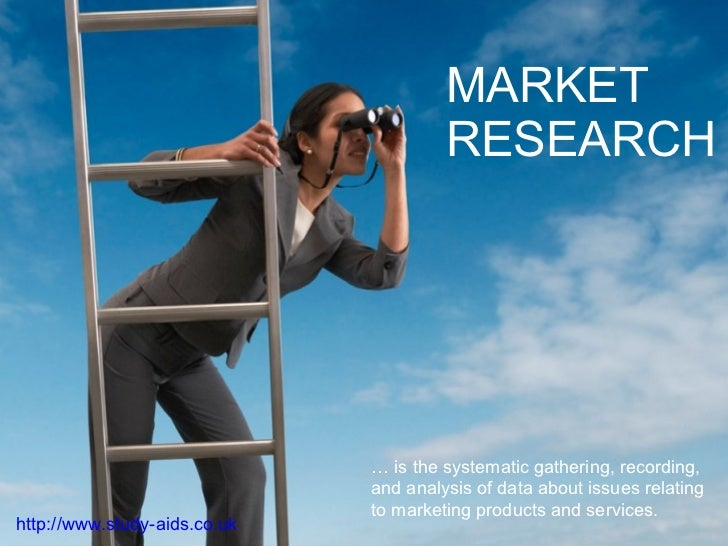 MARKET RESEARCH …  is the systematic gathering, recording, and analysis of data about issues relating to marketing product...