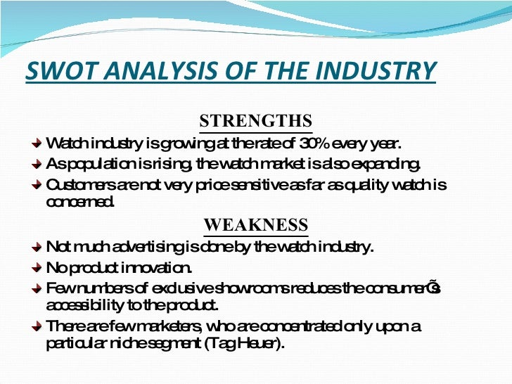 swot for watch industry Marketing research report on watch industry - free download as powerpoint presentation (ppt) or view presentation slides online swot analysis of the industry.