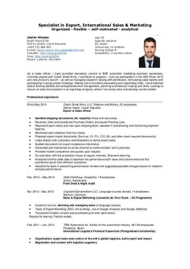 mr javier alonso specialist in export international sales cv