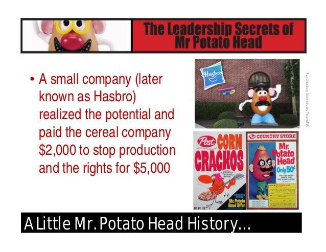 FacilitationSecretsbyTeamTRI A Little Mr. Potato Head History… • Born on May 1, 1952 • The original toy cost .89 and co...