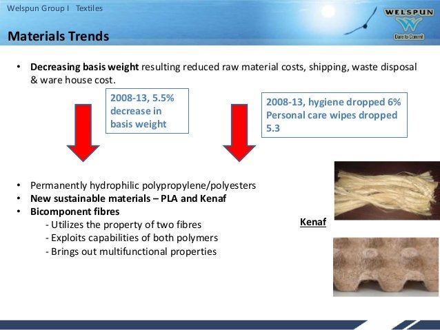Welspun Group I Textiles • Decreasing basis weight resulting reduced raw material costs, shipping, waste disposal & ware h...