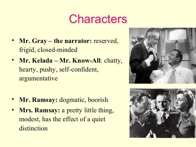 Who are the characters in Mr Know All by William Somerset Maugham?