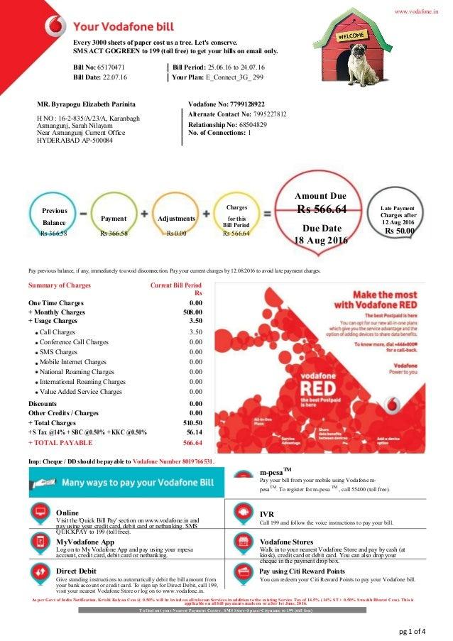 Vodafone Postpaid Bill Pdf