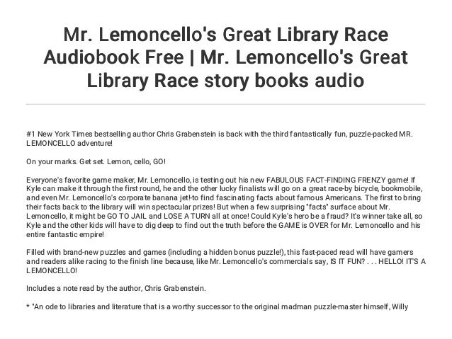 Mr Lemoncello S Great Library Race Audiobook Free Mr Lemoncello S