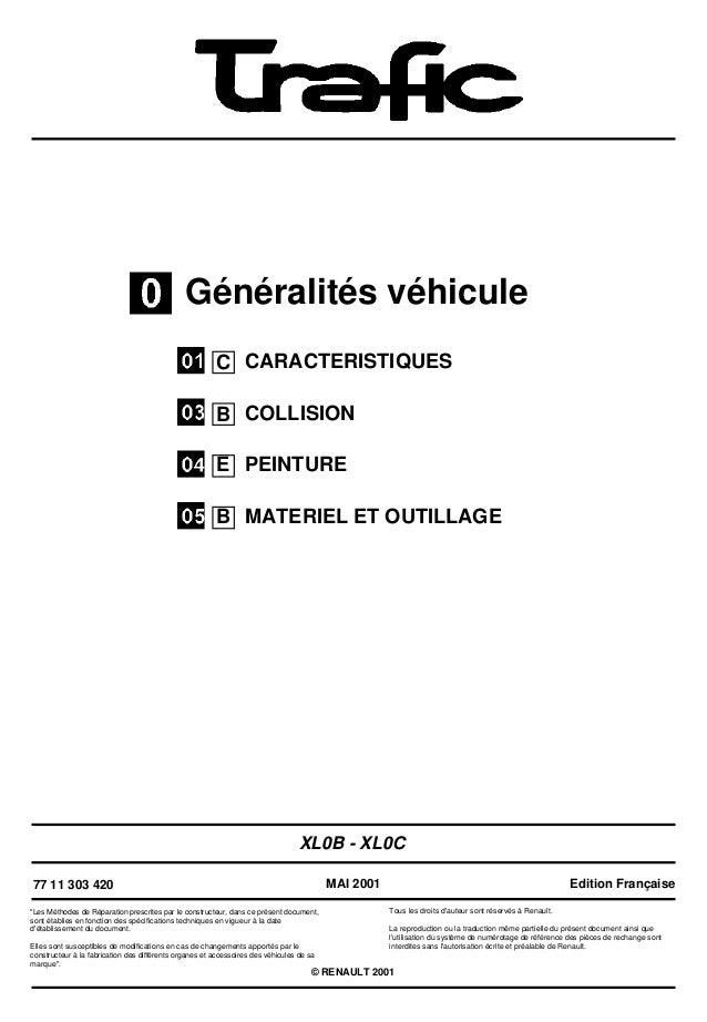 """Généralités véhiculeCARACTERISTIQUESCOLLISIONPEINTUREMATERIEL ET OUTILLAGEXL0B - XL0C77 11 303 420""""Les Méthodes de Réparat..."""