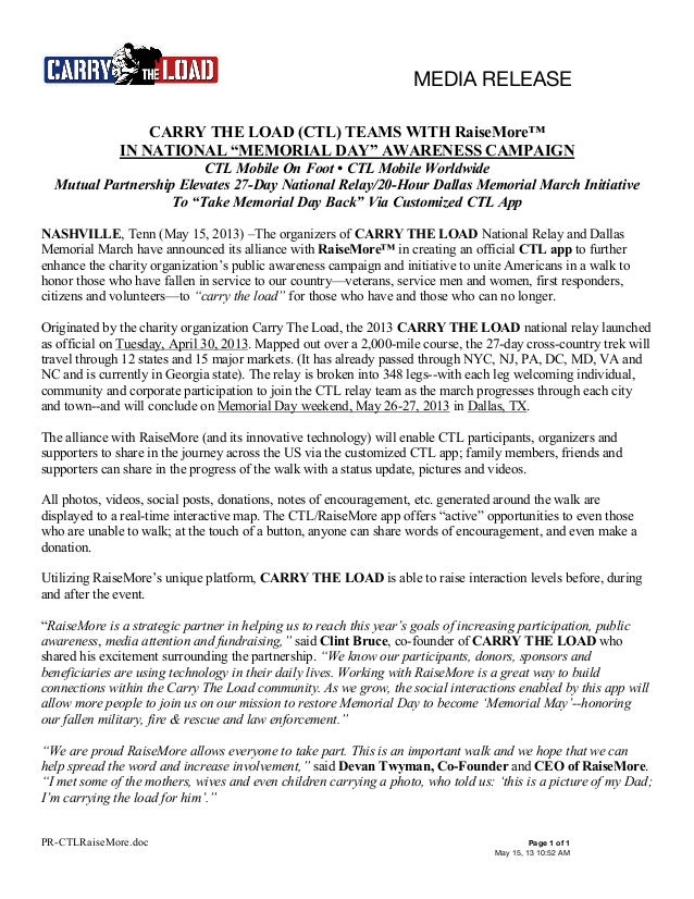"""MEDIA RELEASEPR-CTLRaiseMore.doc Page 1 of 1May 15, 13 10:52 AMCARRY THE LOAD (CTL) TEAMS WITH RaiseMore™IN NATIONAL """"MEMO..."""