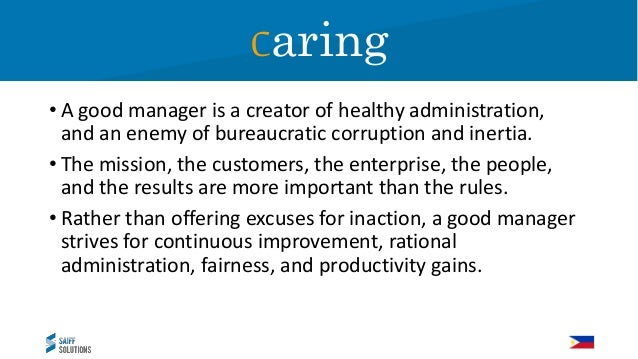 Caring Have you ever thought about management in terms of caring? Please type Yes if this is not a new idea to you. Caring