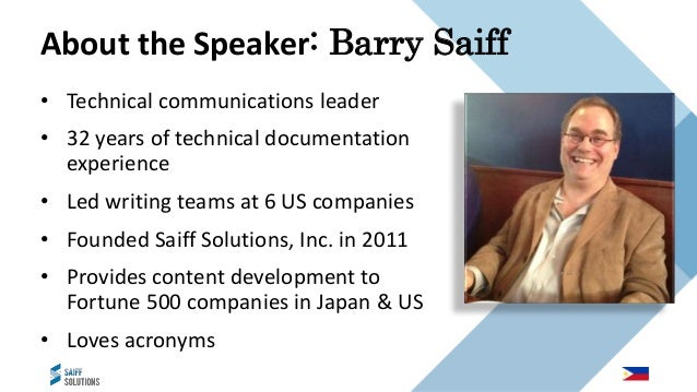 • Technical communications leader • 32 years of technical documentation experience • Led writing teams at 6 US companies •...
