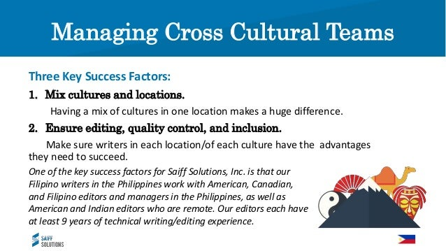 Managing Cross Cultural Teams To be successful with people in other cultures, you need to be sensitive. You need to be wil...