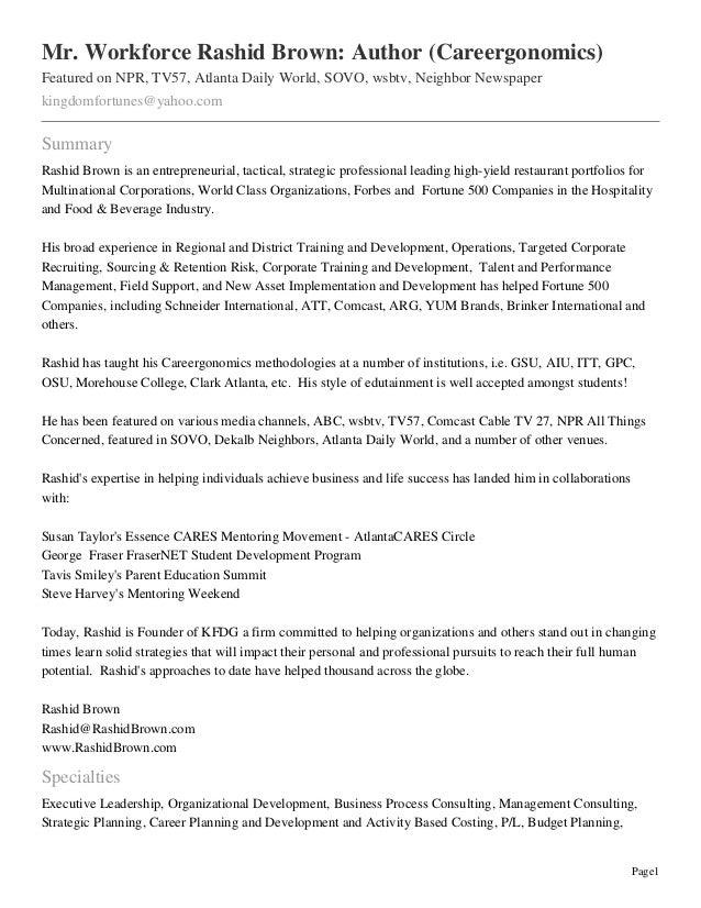 Mr. Workforce Rashid Brown: Author (Careergonomics)Featured on NPR, TV57, Atlanta Daily World, SOVO, wsbtv, Neighbor Newsp...