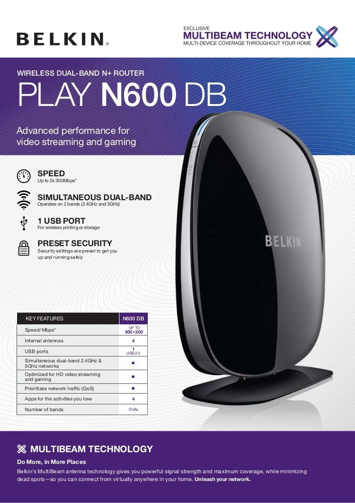 WIRELESS DUAL-BAND N+ ROUTERPlay N600 DBAdvanced performance forvideo streaming and gaming         sPeeD         Up to 2x ...
