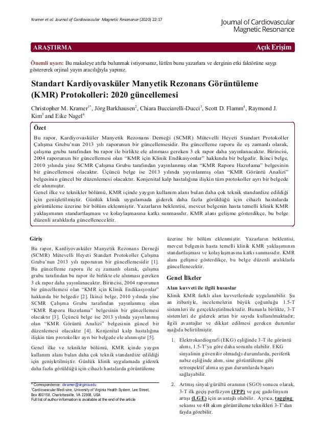 ARAŞTIRMA Açık Erişim Kramer et al. Journal of Cardiovascular Magnetic Resonance (2020) 22:17 Önemli uyarı: Bu makaleye at...