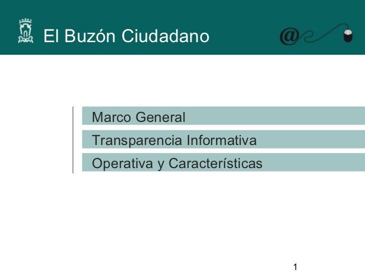 El Buzón Ciudadano     Marco General     Transparencia Informativa     Operativa y Características                        ...