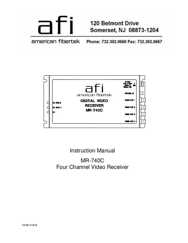 afiamerican fibertek 04/08/13 BLB Instruction Manual MR-740C Four Channel Video Receiver