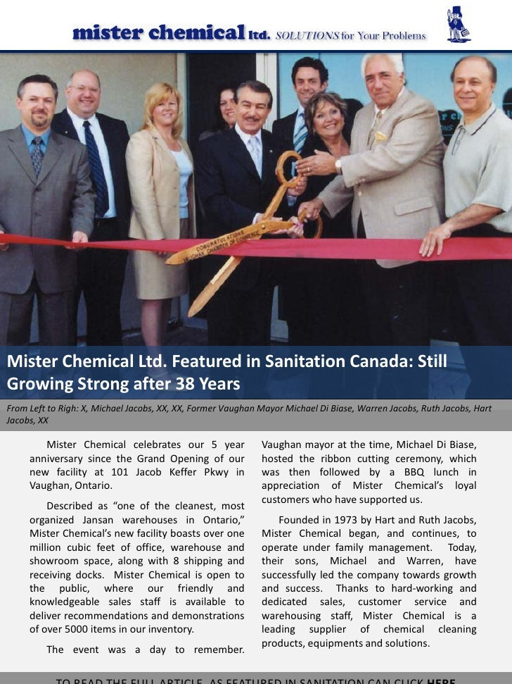 Mister Chemical Ltd. Featured in Sanitation Canada: Still Growing Strong after 38 Years From Left to Righ: X, Michael Jaco...