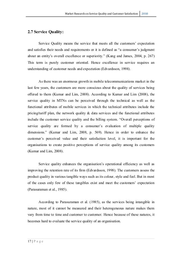 Thesis in service quality