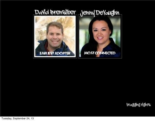 Jenny DeVaughn MostConnectedEarliestAdopter David Brensilber bragging rights Tuesday, September 24, 13