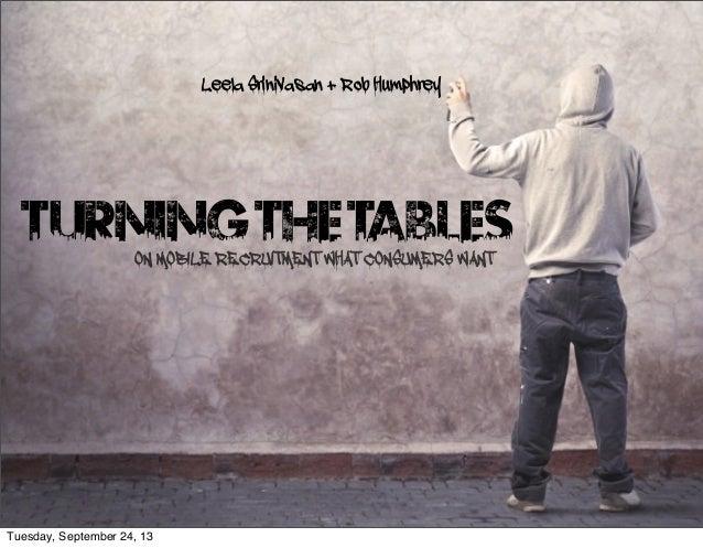 TURNINGTHETABLESON MOBILE RECRUITMENT WHAT CONSUMERS WANT Leela Srinivasan + Rob Humphrey Tuesday, September 24, 13