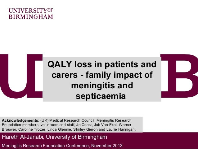 QALY loss in patients and carers - family impact of meningitis and septicaemia Acknowledgements: (UK) Medical Research Cou...