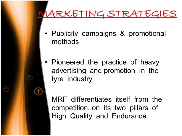 marketing project on mrf tyres Abhay marketing are a leading name dealing as supplier in our local area from jaora madhya pradesh of automotive tyres, tvs tyre, cycle tyre and tubes, michelin tyre, mrf tyre, ceat tyre, birla tyre, apollo tyres, engine oils, industrial grease, copper and brass rods, spare parts, oil drum, welding material, carrier design bicycle etc since early 1991.