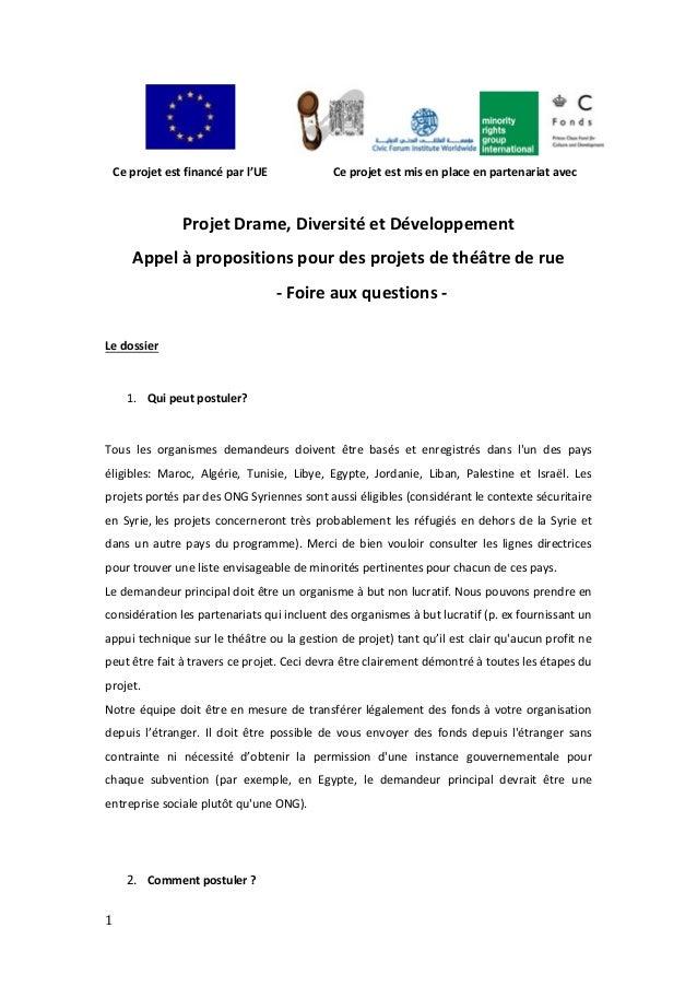 1    Ceprojetestfinancéparl'UE Ceprojetestmisenplaceenpartenariatavec   ProjetDrame,DiversitéetDé...