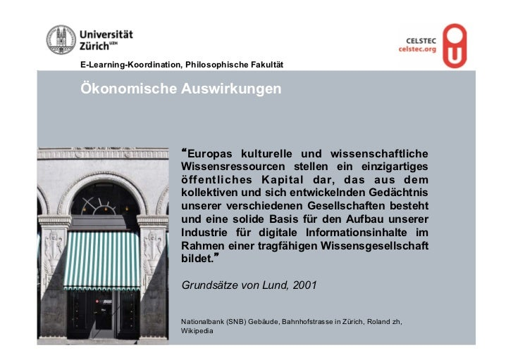 "E-Learning-Koordination, Philosophische FakultätÖkonomische Auswirkungen                       ""Europas kulturelle und wis..."