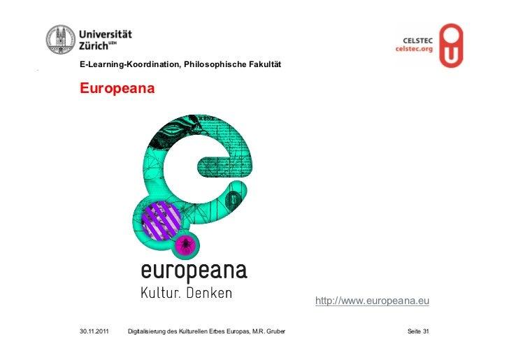 E-Learning-Koordination, Philosophische FakultätEuropeana                                                                 ...