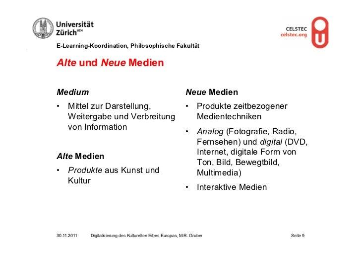 E-Learning-Koordination, Philosophische FakultätAlte und Neue MedienMedium                                                ...