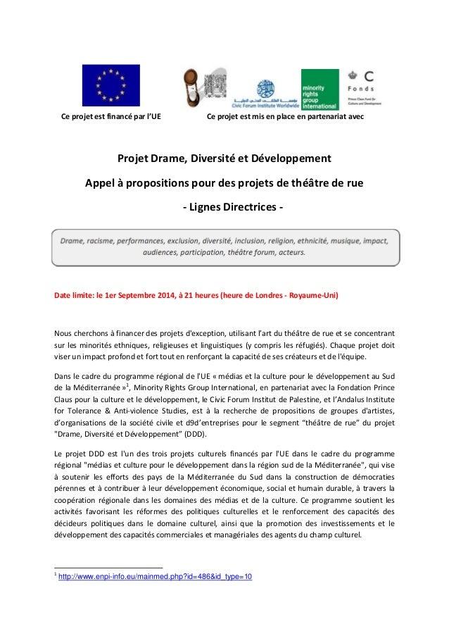 Ceprojetestfinancéparl'UE Ceprojetestmisenplaceenpartenariatavec    ProjetDrame,DiversitéetDév...