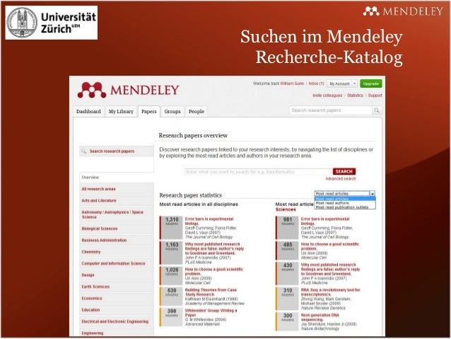 Suchen im Mendeley Recherche-Katalog