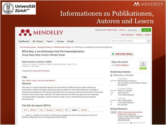 Informationen zu Publikationen,           Autoren und Lesern