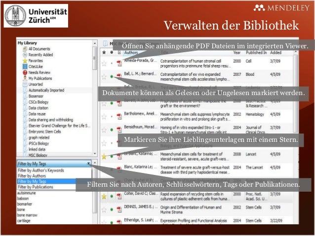 Verwalten der Bibliothek           Öffnen Sie anhängende PDF Dateien im integrierten Viewer.    Dokumente können als Geles...