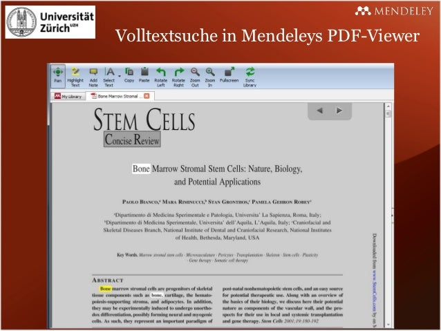 Volltextsuche in Mendeleys PDF-Viewer