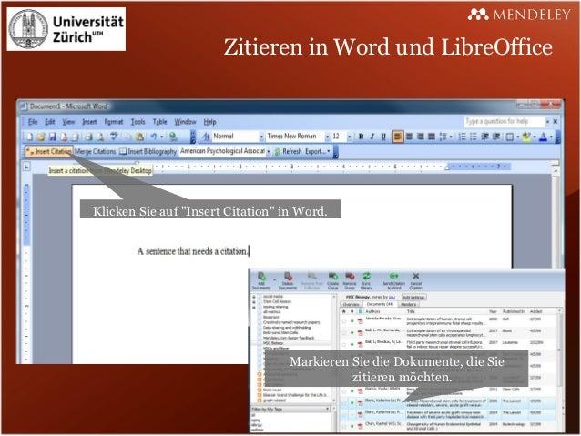 """Zitieren in Word und LibreOfficeKlicken Sie auf """"Insert Citation"""" in Word.                                   Markieren Sie..."""