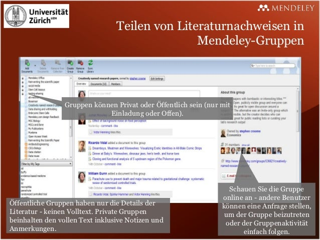 Teilen von Literaturnachweisen in                                                Mendeley-Gruppen                 Gruppen ...