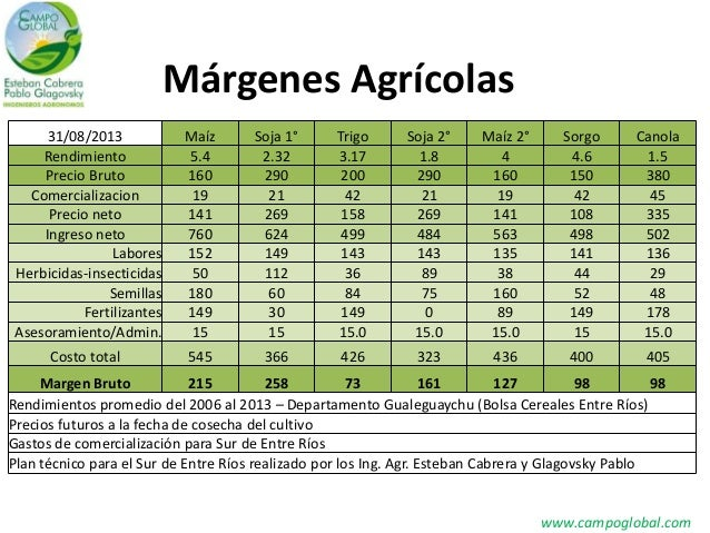 Márgenes Agrícolas www.campoglobal.com 31/08/2013 Maíz Soja 1° Trigo Soja 2° Maíz 2° Sorgo Canola Rendimiento 5.4 2.32 3.1...