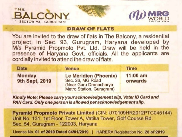 MRG The Balcony Draw Result News updates #MRG #MRGWorld #TheBalcony #DrawResult #Draw #Result #sector93 #Gurgaon #affordablehousing