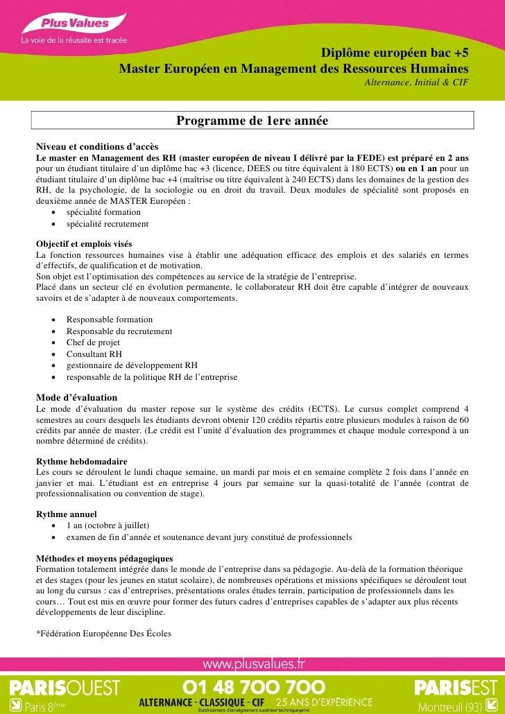 Diplôme européen bac +5                      Master Européen en Management des Ressources Humaines                        ...