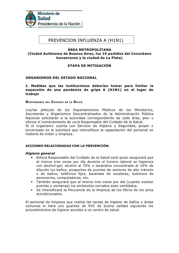 PREVENCION INFLUENZA A (H1N1)                      ÁREA METROPOLITANA  (Ciudad Autónoma de Buenos Aires, los 19 partidos d...