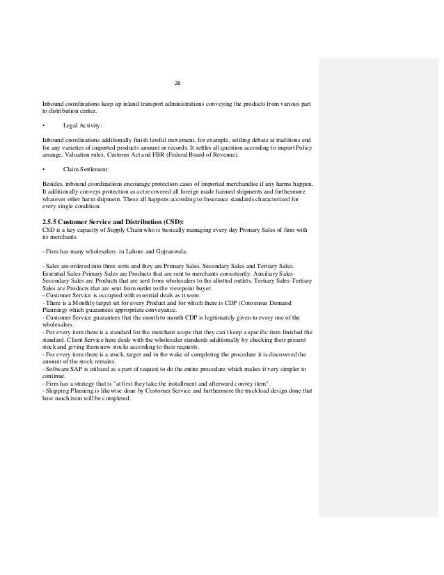 logistics internship report