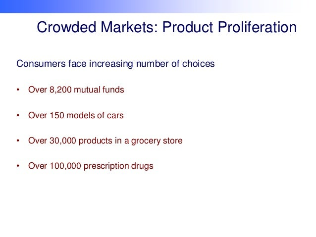 Crowded Markets: Product Proliferation Consumers face increasing number of choices • Over 8,200 mutual funds • Over 150 mo...