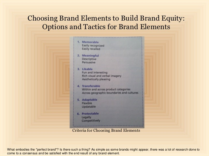 Choosing Brand Elements to Build Brand Equity:                Options and Tactics for Brand Elements                      ...