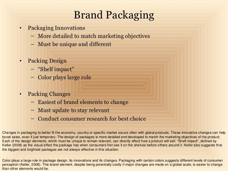 Brand Packaging           •    Packaging Innovations                 – More detailed to match marketing objectives        ...